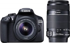 Canon EOS 1300D 18MP Digital SLR Camera with 18-55mm and 55-250mm is II Lens, 16GB Card