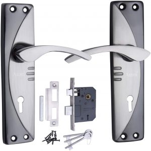 ATOM Legend-2 Mortise Lock with 1003 Black Silver Handle Set