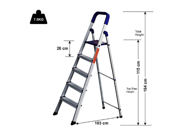 Parasnath Home Pro 5 Step Lightweight Folding Ladder